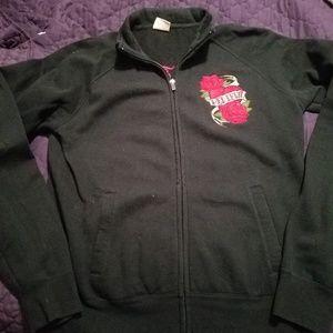 EUC ladies black zip-up track jacket style